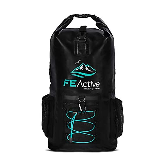 FE Active Dry Bag Waterproof Backpack - 20L Eco Friendly Hiking Backpack. Ideal for Camping Accessories & Fishing Gear… 1 DESIGN: The Huntington is made of environmentally safe PVC tested and certified. Bungee cords to hold tackle box, fly fishing gear, yoga mat, camping supplies and outdoors survival kits. Complimentary carabiner attached to increase utility. Roll top waterproof design makes for great extra large safe storage for gadgets like cell phone, camera equipment, clothes, and money. Chest strap keeps pack securely on while on a motorcycle, bike, sea doo, jet ski, snorkeling, or skateboarding CONSTRUCTION: Dry bag made of thick marine grade 5mm eco friendly Vinyl Tarpaulin with high frequency welded stitching made to withstand extreme outdoor activities. A must have for your emergency kit. Perfect dive bag where conditions are very wet. This 20L dry bag backpack includes padded shoulder straps with mesh lining for better air flow and built-in padded back support for more comfort. Includes exterior zipper mesh pocket to safely hold keys, sun glasses, and other items DIMENSIONS: Enjoy carrying everything you need with this professional waterproof backpack, which has a 20L capacity and measures 25.5 in long and 11.8 in wide. This heavy duty yet light backpack weighs 2 pounds ideal dry bag for your emergency kit. Rain and snow are no match for this dry bag. Used and trusted by our own USA military for its floating capabilities and ability to keep tactical gear dry. Also doubles as a great beach bag to keep your phone, lunch, towel, and accessories dry