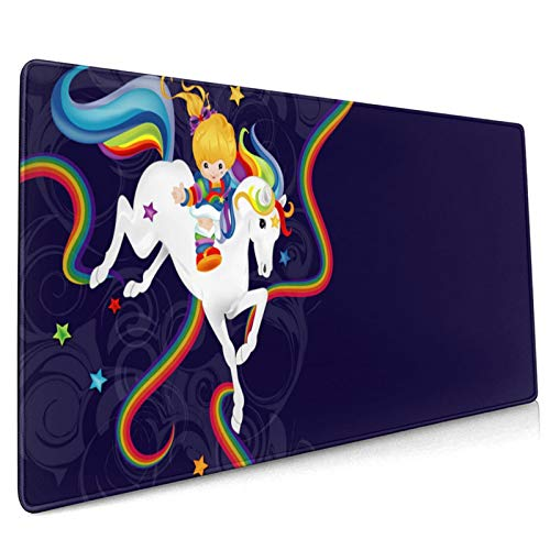 Rainbow Brite and Starlite Memories Mouse Pad, Non-Slip Mouse Mat with Stitched Edges Waterproof Keyboard Pad Non-Slip Rubber Base Mousepad for Laptop, Computer & PC 15.8x35.5 in