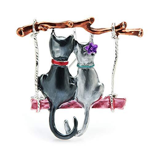 COLORFULTEA Par De Broches De Gatos para Mujer, Esmalte De Dibujos Animados, Columpio, Gato, Animal, Fiesta, Broche Casul, Pines