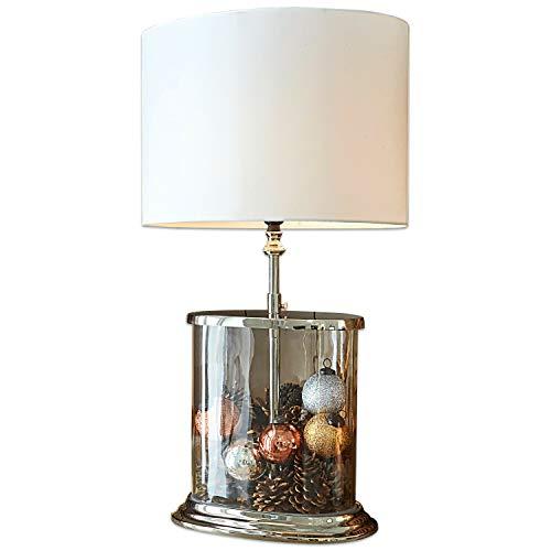 Loberon Tischlampe Hilltop, Baumwolle, Glas, Messing, MDF, H/B/T 53,3/43 / 28,5 cm, klar/creme, E27, max. 40 Watt, A++ bis E