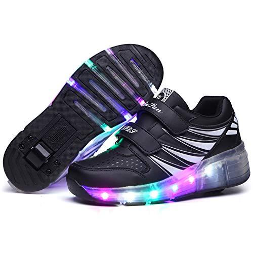 Led Zapatillas con Ruedas para Niños/Niña Ajustables 1 Ruedas/2 Ruedas Automática Calzado de Skateboarding Deportes de Exterior Patines en Línea Aire Libre Zapatos de Roller Niños,Black 1,33 EU
