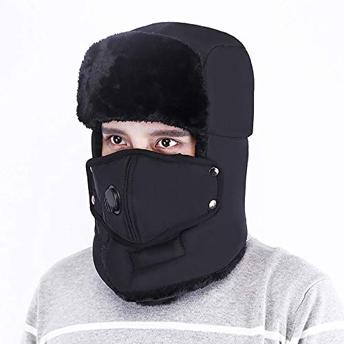 gengyouyuan Men's and Women's Hats Anti-Fog Radkappe Thick Warm Earmuffs, schwarz, 56-62cm