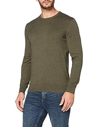 Marca Amazon - MERAKI Jersey de Algodón Hombre Cuello Redondo, Verde (Khaki), M, Label: M