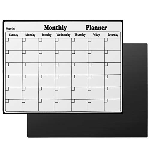 Mufuny - Calendario magnético de borrado en seco para refrigerador, pizarra blanca, planificador mensual para cocina, calendario borrable