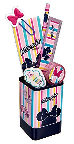 Undercover MINE5522 Köcher, Disney Minnie Mouse, Stiftehalter gefüllt mit viel Zubehör, ca. 24,5 x 14 x 7 cm, 7 teilig