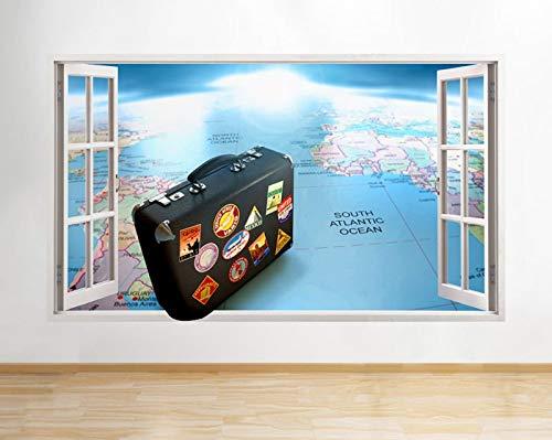 Q277w Koffer Reiskaart Vakantie venster Wandtattoo 3D Art Sticker Vinyl kamer