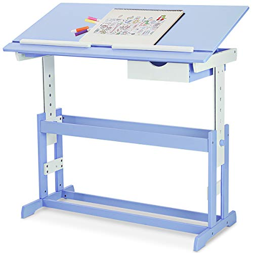 DREAMADE kinderschreibtisch höhenverstellbar, Kindertisch Schreibtisch Schülerschreibtisch, Computertisch Neigungsverstellbar, Farbewahl (Blau)