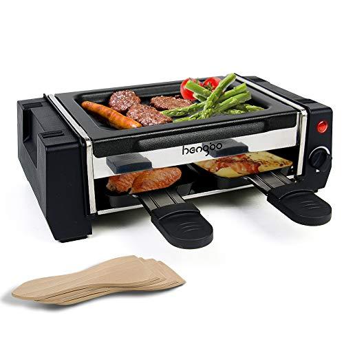 HengBo Raclette Grill Mini Griglia Elettrica Barbecue, Smokefree Grill con Piastra Antiaderente e 2 Padelle per Raclette, 4 Spatole in Legno, Termostato Regolabile, 500W - Nero