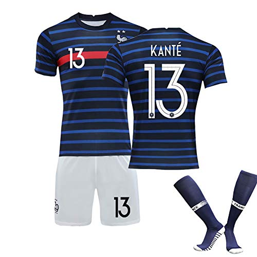 Kinder Erwachsenen Fußball T-Shirt, Mbappé10 Griezmann7 Kanté13 Pogba6, 2020 Neues Europapokal FußballtrainingSuitsSummer, Wiederholbare Reinigung, Limitierte Auflage-blue13-16