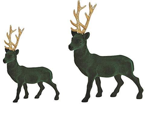 Miss Lovely 2er Set Deko-Figuren Weihnachts-Aufsteller Hirsche in grün beflockt & Gold Wohnungs-Dekoration Weihnachten Weihnachts-Deko Weihnachtsschmuck Advent Winter-Dekoration Geschenk-Idee