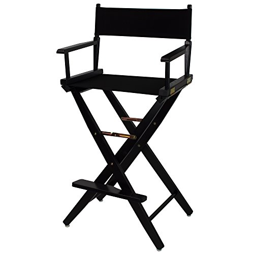 "American Trails Extra-Wide Premium 30"" Director's Chair Black Frame with Black Canvas, Bar Height"