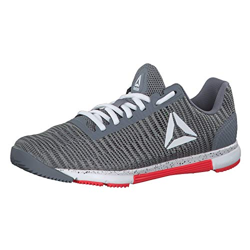 Reebok Damen Speed Tr Flexweave Fitnessschuhe, Mehrfarbig (Cold Grey/White/Neon Red 000), 38.5 EU