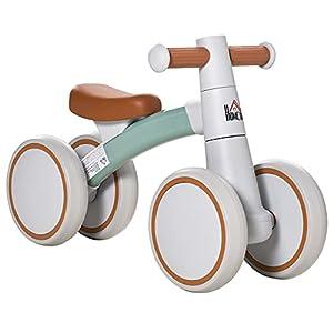 HOMCOM Bicicleta sin Pedales para Niños de 1-3 Años Bicicleta de Equilibrio con 4 Ruedas Ligeras Correpasillos Infantil 60x24x37 cm Marrón