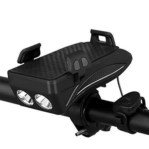 Luz de bicicleta luz de bicicleta usb recargable e Multi-función de luz de bicicletas USB LED recargable cabeza de la bici lámpara de bicicletas Cuerno soporte for teléfono el Powerbank 4 en 1 de MTB