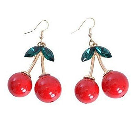 URSING Damen-Ohrringe Ohrringe Rote Kirsche Obst Emaille Kristall Drop Ohrhänger Frucht süße Anhänger Glas Schmuck Damen-Charm Kleine Schmuck Geschenke (Cherry)