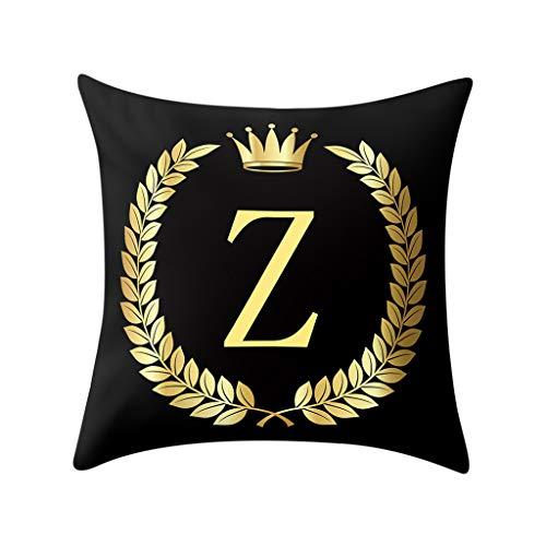 2019 Nuovo Elegante Copertura del Cuscino Nero e Oro Lettera Stampa Unico Cuscino Federa Cuscino del Divano Home Decor 45cm×45cm/ 18 × 18 Pollici By WUDUBE