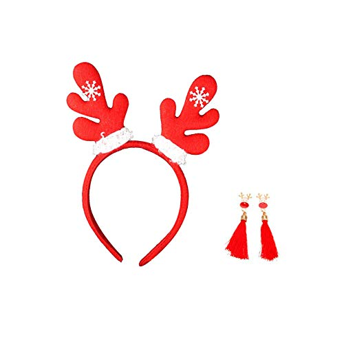 MAGIIE Weihnachts-Stirnbänder Geweih-Stirnband für Erwachsene (1 Piece) + 1 Paar Lange Ohrringe Damen,Geschenk für Frauen Weihnachten (Elch)