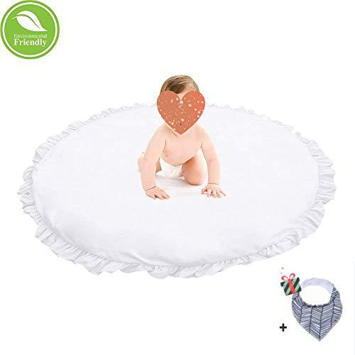 Krabbeldecke für Baby, Morbuy Kinder Schlafbereich Teppich Kuschelige Cartoon Spielmatte Runde Teppich Dekoration für Kinderzimmer Crawl Spielmatte Spiel Gym Aktivität (Weiß)