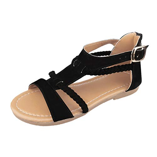 Sandalen Damen Sommer Flip Flops Sandaletten Bohemian Flach Zehentrenner Strandschuhe PU Leder Sandals mit Strass (EU:39, Schwarz)