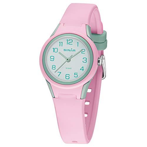 SINAR XB-47-9 - Reloj de pulsera para niña, unisex, analógico, cuarzo, 10 bares, color rosa