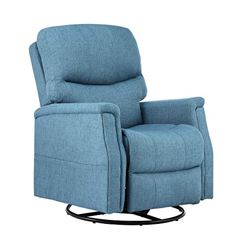 eclife Massage Recliner Chair with Lumbar Heating, 360 Degree Swivel& Rocking, Ergonomic Lounge Chair, Reclining Sofa for Living Room, Side Pocket, Remote Control (Blue+Fabric, Swivel+Rocking)