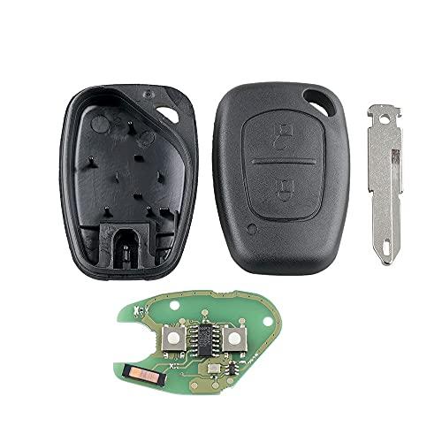 Shoppy Lab Compatible con llave completa para Renault Megane Scenic Laguna Koleos Clio Master Twingo Trafic Opel Vivaro (433 MHz ID46 PCF7946) chip + transpondedor + batería