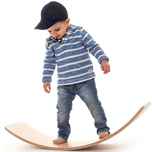 HQPCAHL Wooden Balance Board for Kids Multifunction Natural Wood Rocker Curvy Yoga Board Children Toddlers Toys 33 Inch,Natural