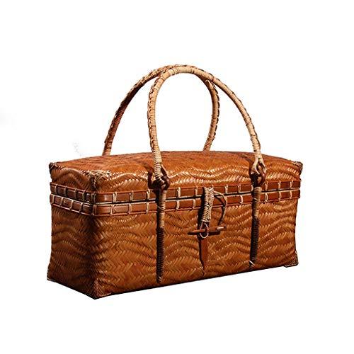 Picknickkorb mit großer Kapazität im Freien Vintage Bambus gewebt Picknickkorb, Reise tragbarer Tee Set Aufbewahrungsbox, Lebensmittelbox...