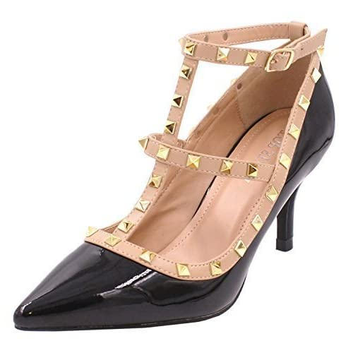 851e084a316 SHU CRAZY Womens Ladies Faux Patent Leather Studded Low Stiletto Heel Party  Evening Dressy Fashion Court