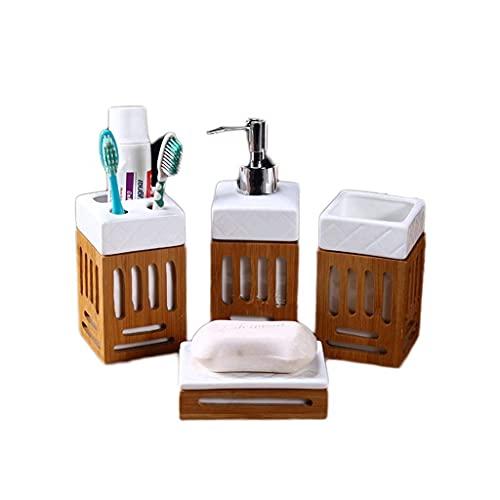 SaiFei Juegos de Accesorios de baño Cerámica de bambú Simple con Accesorios de baño Juego Dispensador de jabón Portacepillos de Dientes Juego de Lavado Productos de baño Juego de Accesorios de baño