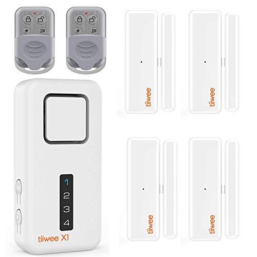 tiiwee Home Alarm System Kit X1 XL - Alarmanlage mit 4 Fenster- oder Tuer Sensoren und 2 Fernbedienungen - Erweiterbar - Alarmmodus oder Benachrichtigungsmodus