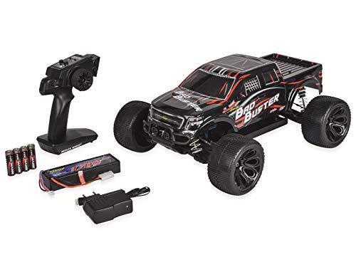 Carson 500402127 500402127-1:10 Bad Buster 4WD X10 2.4G 100% RTR, Ferngesteuertes Auto, RC-Fahrzeug, inkl. Batterien und Fernsteuerung, 2,4 GHz, schwarz