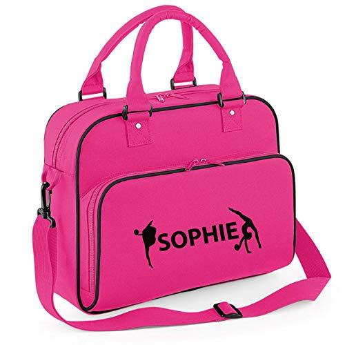 Union Leisurewear Ltd iLeisure Mädchen-Sporttasche, personalisierbar, Rythmic Gymnastik mit schönen Turnerfiguren Gr. Medium, Fuchsia/Schwarz