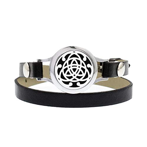 DIYear Essential Oil Diffuser Aromatherapy Bracelet Triangle Good Luck Celtic Knot Locket PU Leather Band