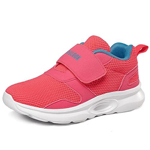 SHULOOK Zapatillas deportivas para niños y niñas, con cierre de velcro, transpirables, ligeras, para exteriores, unisex, para niños, color Rojo, talla 28 EU