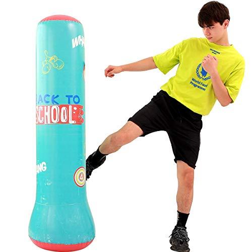 LONEEDY Aufblasbarer Fitness-Sandsack, freistehend, Sandsack, für Jugendliche und Kinder, Fitness, schwer, Kickboxen, Sandsack, Kombination aus Fitness und Unterhaltung (Grün)