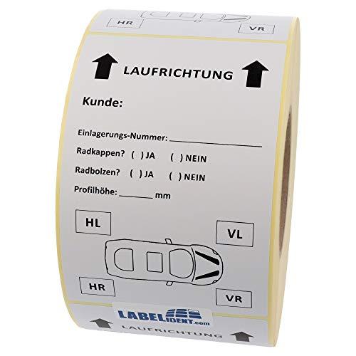 Labelident Reifenaufkleber für Einlagerung, Papier weiß, 100 x 150 mm, 500 Etiketten auf 1 Rolle(n), Spezialklebstoff (Reifen, Holz, Beton u.a.), Trägerperforation