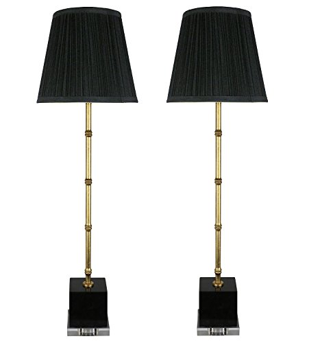Urbanest Set of 2 Serrino Buffet Lamps, Gold with Black Marble, 29-inch Tall