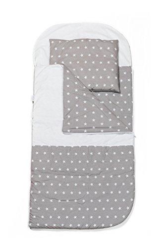 KempKids Sango Trade. Set di Sacco a Pelo + Cuscino per Bambini in età Prescolare Stuoia del Nap Sacchetto di Sonno Taglie: Sacco a Pelo 115 x 70cm Guanciale 35 x 70 cm Stella Grigia