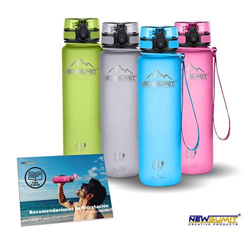 NEWSUMIT Botella De Agua Deportiva Superior - BPA Free Tritan - 350ml - 500ml -1000ml - Todo Uso (Azul, 350ml - 12oz)