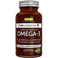 Pure & Essential Aceite de Pescado Salvaje Omega-3 410 mg EPA y 250 mg DHA por cápsula y Vitamina D3, sabor a limón, 60 cápsulas (1)