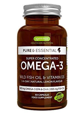 Pure & Essential Omega-3 mit Vitamin D3, Hochdosierte Fischölkapseln mit 410mg EPA & 250mg DHA Fettsäuren, 80%ige Konzentration, Ohne unangenehmen Fischgeruch, 60 Kapseln, 1 pro Tag