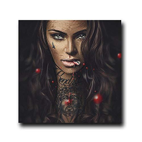 Arte de la pared Gafas de desgaste abstracto Mujeres Pintura de lienzo moderna Chica fresca Pintura de tatuajes Carteles Cuadro de retrato para la decoración de la pared del hogar 60x60cmx1 Sin marco