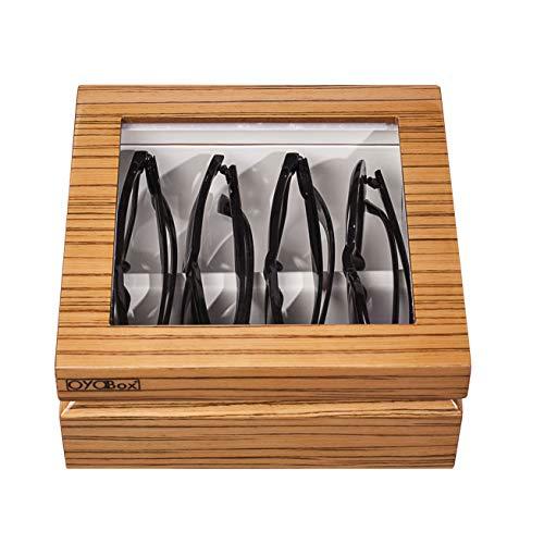 OYOBox Mini Luxury Eyewear Organizer, Wood Display Box for Glasses + Sunglasses, Limited Edition Colors (Zebra Natural)