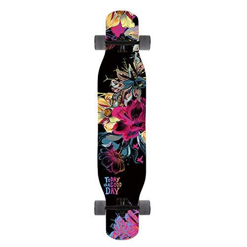 LXLTLB Professionelles Tanzen Longboard Skateboard 118cm Maple Complete Cruiser langlebig Camber Concave Drop Through Deck für Anfänger Downhill Cruising,A