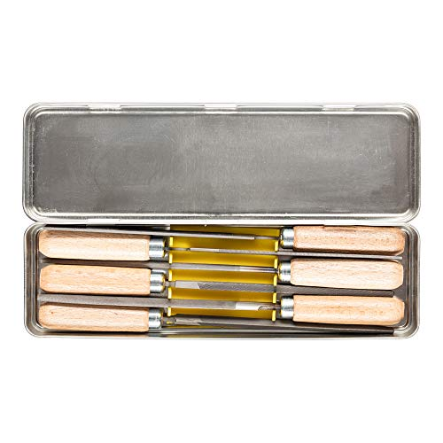 PFERD Schlüsselfeilen-Set 265 K in Metallbox, 6 Feilen, 100mm, mit Holzheften, 11700265 – für eine große Bandbreite von filigranen und leichten Feilaufgaben geeignet