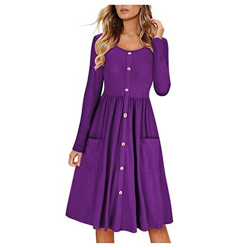 FABIURT Winter Dress for Women Casual Women Casual 3/4 Sleeve Loose Swing Dress V Neck Solid Pleated Babydoll