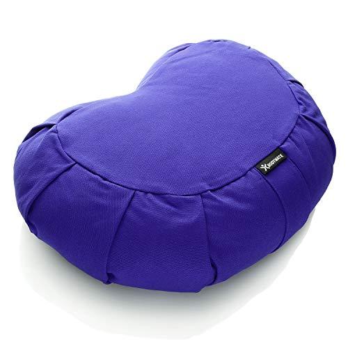 BODYMATE Cuscino da Yoga e Meditazione Mezzaluna 42x30x15 cm con Imbottitura in Pula di Grano Saraceno – Rivestimento Lavabile in Lavatrice 100% Cotone Extra Spesso – Cuscino da Meditazione – Zafu