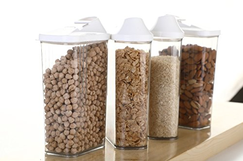 Slings 12 Pcs Easy Flow Kitchen Plastic Container Set for Cereals, Rice, Pulses(1100ml, Clear)
