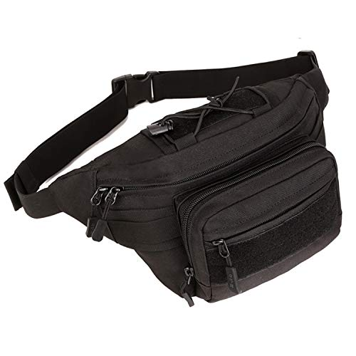 Huntvp Military Hip Fanny Pack Tactical Waist Bag Packs Waterproof Hip Belt Bag Pouch for Hiking Climbing Outdoor Bumbag Black